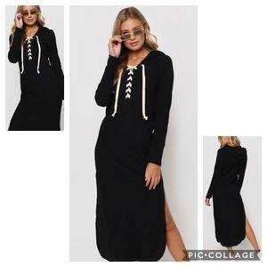 Tobi Aziela Black Hooded Maxi Dress